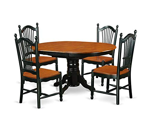 Deluxe Premium Collection 5 Piece Table & Chair Set with One Kenley Dining Table & Four Kitchen Chairs Black/Cherry Decor Comfy Living Furniture