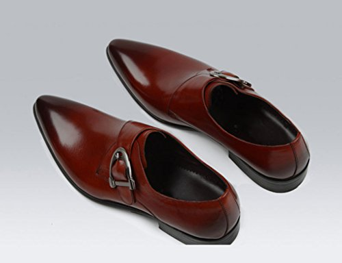 Herren Lederschuhe Herren Lederschuhe Business Formelle Abnutzung spitzte Breathable Wedding Single Shoes Herrenschuhe ( Farbe : Red Brown , größe : EU39/UK6 ) Red Brown