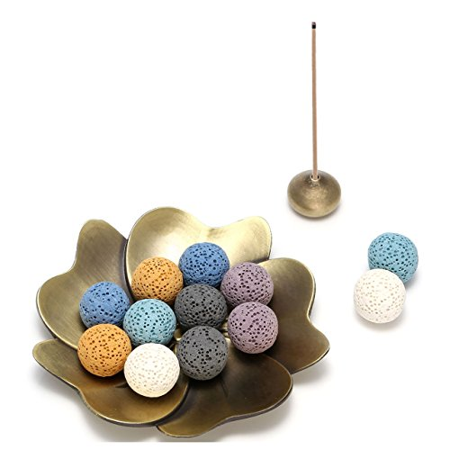 Jovivi 14 pcs Lava Stone Beads for Essential Oils W/Sakura Brass Incense Burner Stick Incense Holder - Aromatherapy Diffuser Decoration Set(Lava Stone Ball - Perfume Blossom Cherry Solid