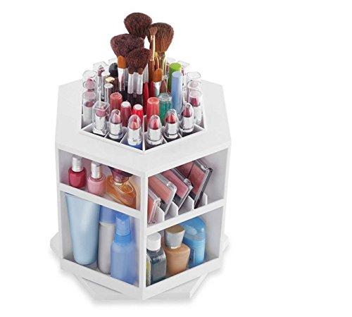 Spinning Cosmetic jewelry box /Makeup / Cosmetics Organizer-White