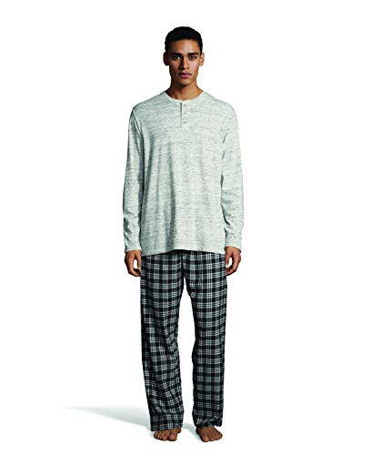 (Hanes Men's L/S Henley Top with Flannel Pant Sleep Set, Oatmeal Gray Space dye Medium)