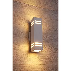 Cerdeco 68574TZ Brandon 2-Light Outdoor Wall Lamp, Sand Textured White with 3-Sided Frosted Glasses [UL Listed]