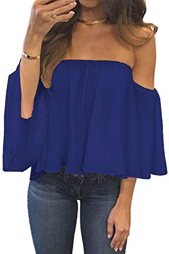 BLUETIME Women Plus Size Sexy Summer Off Shoulder Crop Tops Cute Casual Loose Chiffon Blouses (XL, Blue)