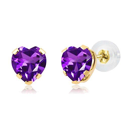 Amethyst Heart Earring 5mm (0.80 Ct Heart Shape Purple Amethyst 14K Yellow Gold 5-prong Stud Earrings 5mm)