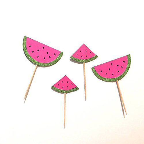 Amazoncom 12 Pcs Watermelon Cupcake Topper For One In A Melon
