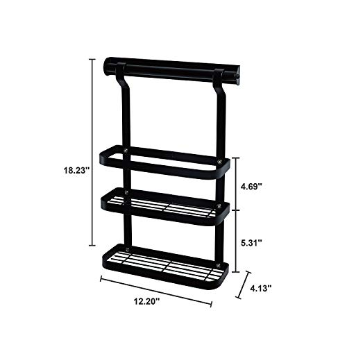 TOLEAD 2 Tier Floating Spice Rack Punch-free on Wall Mounted For Kitchen Organizer Storage for Seasoning Oils with 4 Hooks for Utensil Mug Towel, Black