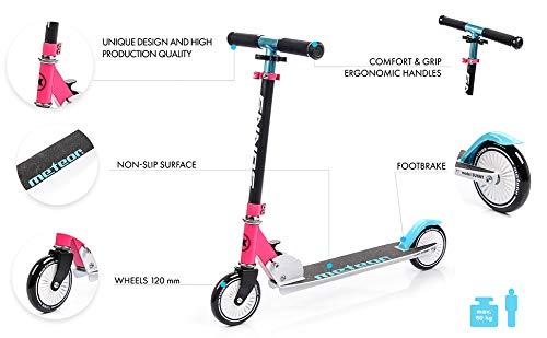 meteor Scooter Ruedas Grandes 120 mm Patinete para Niños y Adultos Muy Duradera hasta 60 kg - Pátinete de Aluminio Kick Scooter Plegable Sunny