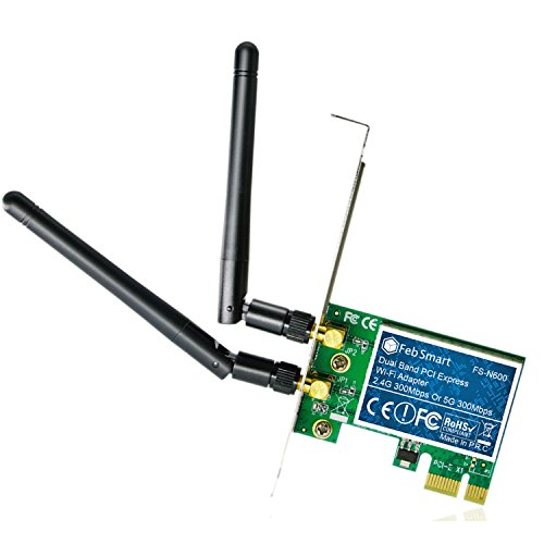 Feb Smart Wireless Dual Band N600 (2.4GHz 300Mbps or 5GHz 300Mbps) PCI Express (PCIe) Wi-Fi Adapter Network Card with 6dBi External Detachable Antenna for Desktop Computers (FS-N600 Basic Edition)