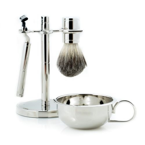 Four Piece Chrome Plated Shaving Shave Set Includes: ''Mach 3'' Razor and Badger Brush,Stand with Removable Bowl
