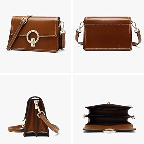 Color package Brown Retro Bag Bag Female Female Fairy JIUTE Female BLACK Oil Handbag Wax Party Small Fashion Bag ZqUwAqdTx