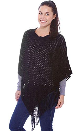 Poncho Sweater Women's Crochet Knit Sequin Pullover Cape Wrap w/ Tassels,Black
