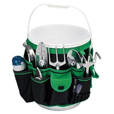 Apollo Precision Tools DT0825 5-Gallon Bucket Garden Tool Organizer, Black/Green