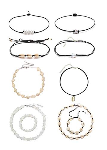 Flaming Phenix 10Pieces Natural Shells Cowkers Necklace Shell Bracelet Handmade Shell Pearl Puka Hawaii Beach Short Necklace Women's Jewelry (10 Pack)