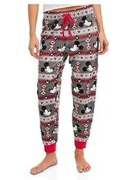 Disney Women's Juniors Mickey Mouse Cuffed Sleep Pants