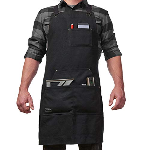 Work Apron Unisex Canvas Shop Apron with Tool Pockets Adjustable Straps ()