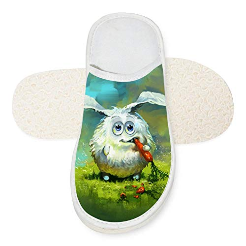 Indoor Cotton Slippers,Lovely Rabbit Carrot Grass Fashion Printed Home Warm Floor Shoes