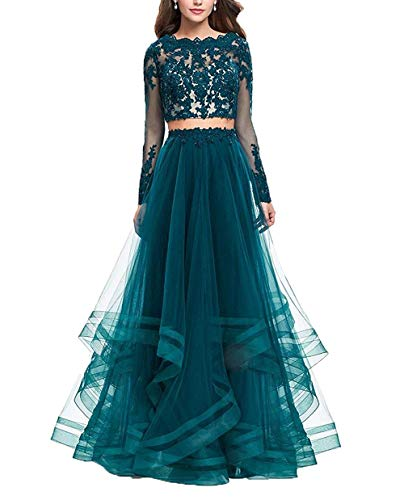 Women's Sexy Lace Two Pieces Prom Dresses Applique Long Sleeve Evening Formal Gowns Teal US14