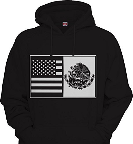 Mens Mexican American Splt Flag Hoodie Urbanwear Street wear Sweatshirt BLACK / WHITE Mexico USA Flag Mash -