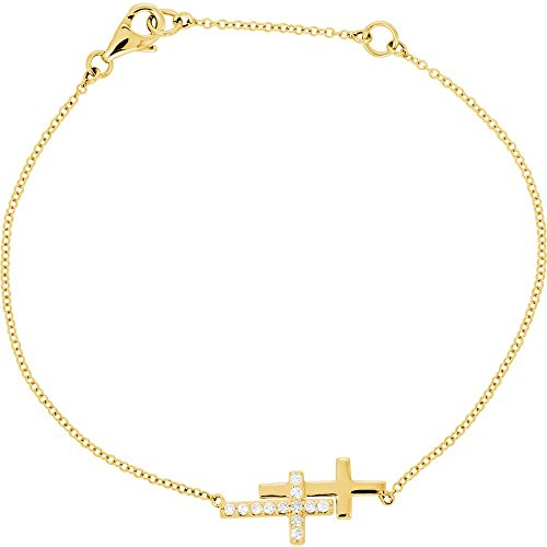 14K Yellow 1/5 CTW Diamond Double Sideways Cross 8'' Bracelet by DiamondJewelryNY