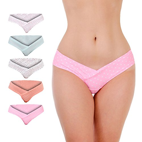 Maternity Spandex Panties (Metro Outfit Women's Under The Bump Maternity Underwear (Set Of 5) - Healthy and Comfortable Pregnancy Panties (Large, Multicolor 2))