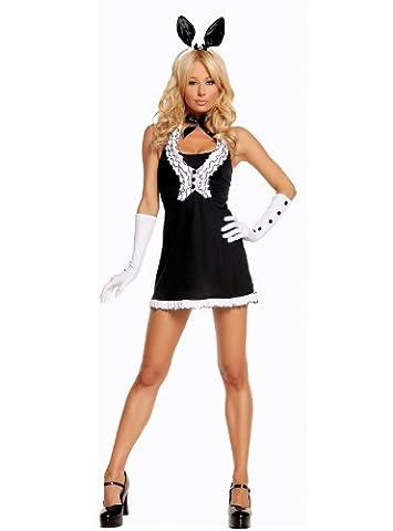 Sexy Black Tie Bunny Costume, Black/White, L ()