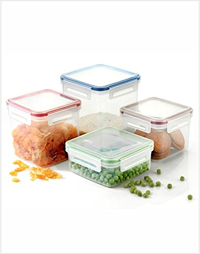 bd50b33dc94 COLLISION 4 Pcs Plastic Square Air Tight Food Storage Box Kitchen Container  Cereal Dispenser Set Idle
