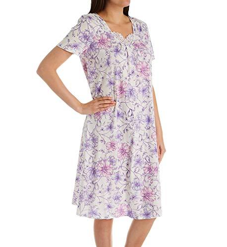 Carole Hochman Women's Waltz Nightgown, White Watercolor Floral, XL