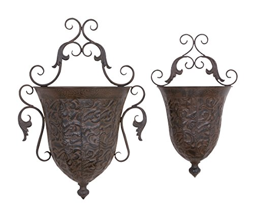 (Deco 79 Metal Wall Planter, 12.5-Inch and 32.5-Inch, Set of)