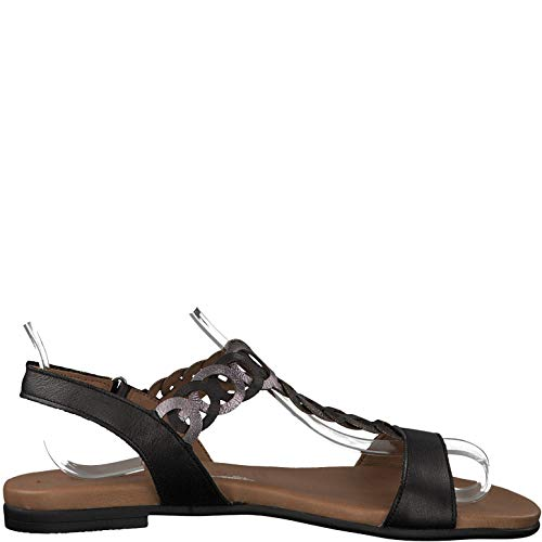 it Black pewter Sandale Lanières 22 touch confortable chaussures D'été 1 28127 À 1 sandales sandales Femme Tamaris plat Lanières H1aTUgwnxq