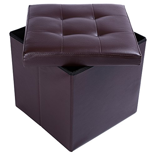 15'' Storage Ottoman Folding Stool,Collapsible Cube Faux Leather Coffee Table,Foot Rest Seat,Clutter Toys Collection Brown by epeanhome (Image #4)'