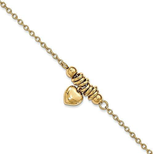 Poli soufflé coeur 14 carats-Bracelet 19 cm-JewelryWeb