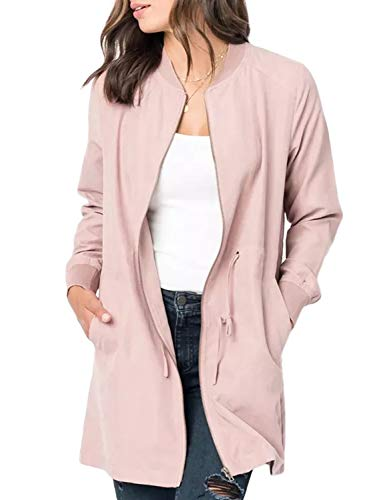 (BLENCOT Womens Plus Size Ladies Cute Autumn Thin Coat Front Zipper Open Front Suede Jacket Comfy Basic Outerwear Pink Windbreaker 2XL)