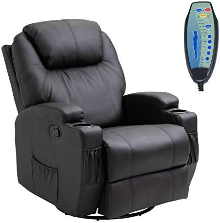 HOMCOM Faux Leather Heated Massage Recliner Chair