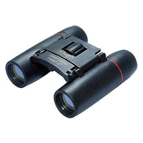 30x60 Binoculars Folding Wide Angle Compact Binoculars (Blue film HD Eyepiece) with Low Light Night Vision Waterproof Zoom Long Range Telescope For Outdoor and Bird (Folding Binoculars Kids)