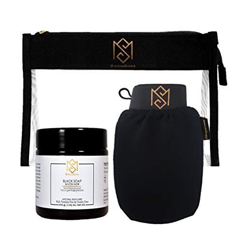 MS Moroccan Black Soap and Exfoliating Glove Kit for Body Scrub – Dead Skin Remover And Deep Pore Cleanser – incl. 1…