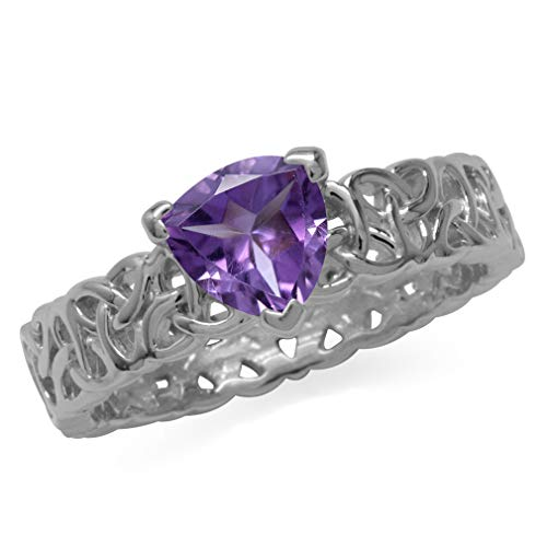 (Trillion Shape Amethyst 925 Sterling Silver Triquetra Celtic Knot Eternity Antique Finish Ring Size 6)