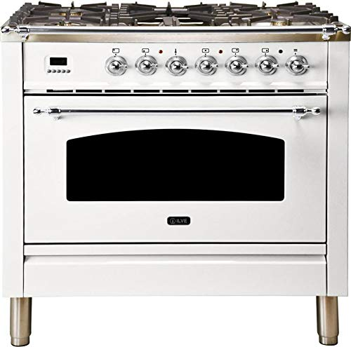 Ilve UPN90FDMPBXLP 36″ Nostalgie Series Dual Fuel Liquid Propane Range with 5 Sealed Brass Burners 3 cu. ft. Capacity True Convection Oven with Chrome Trim in White