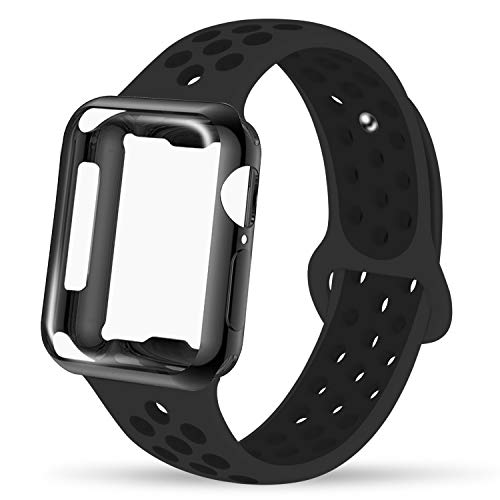 INTENY Compatible for Apple Watch Band 38mm with TPU Case, Soft Silicone Sport Wristband with Apple Watch Screen Protector Compatible for iWatch Series 1/2 / 3/4 / 5, 38mm S/M, Anthracite Black