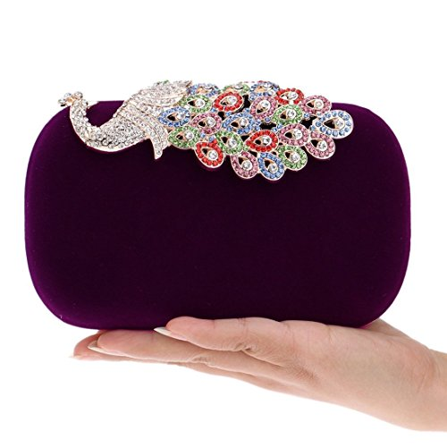 Banquet encrusted Bag Peacock Fly American Ladies Evening Bag European evening Color Evening Fashion Diamond And Purple Bag Black bag Fwq5wzv