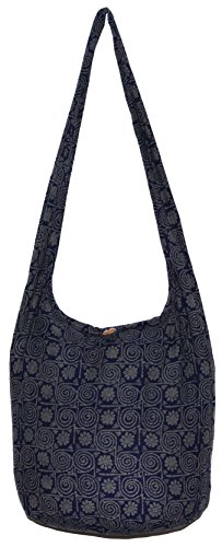 Flower Circle Bohemian Hippie Shoulder Hobo Boho Cross Body Bag Purse (DarkBlue) (Circle Hobo Bag)