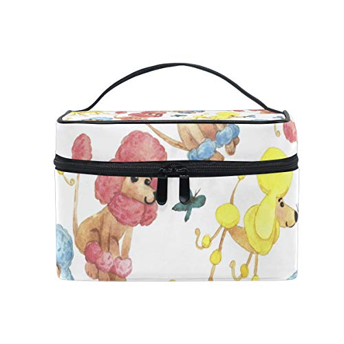 Makeup Cosmetic Bag Aniaml Cartoon Poodle Dog Flower Lotus Portable Storage with Zipper -