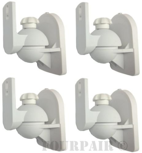 4 Pack Lot - Universal Satellite Speaker White Wall Mount Brackets fits Bose