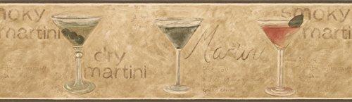 Dark Green Glassed Martini Wallpaper Border 5510861