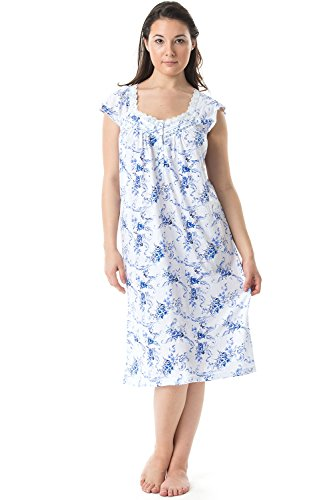 - Casual Nights Women's Cap Sleeves Floral Lace Night Gown- Blue - X-Large