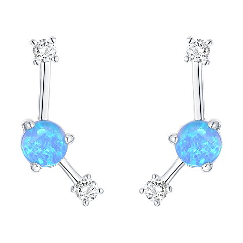 PAVOI 14K White Gold Plated Sterling Silver Post Created Blue Opal Crawler Earrings Cuff Stud
