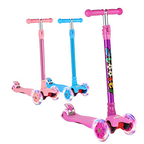 GOOGO Kick Scooter for Kids 3 Wheel Lean to Turn 3 Adjustable Height PU LED Light Up Wheels for 3-13 Year Old Purple