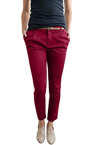 (Chuanqi Womens Casual Straight Leg Cropped Ankle Comfortable Work Pants with Pockets,Wine Red,Small)