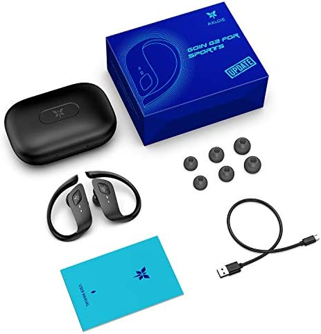 Axloie Wireless Earbuds, Bluetooth Earbuds 5.0 True Wireless Premium Deep Bass IPX7 Waterproof 35H Playtime in-Ear TWS Stereo Earphones with Charging Case for Sport Running Gym Workout Black