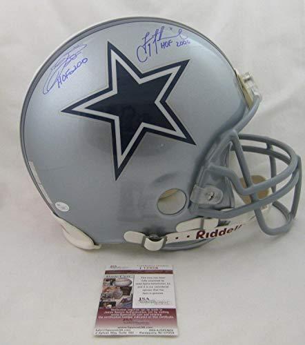 Emmitt Smith -Troy Aikman Autographed Signed Dallas Cowboys Auth Proline Helmet HOF Memorabilia - JSA Authentic