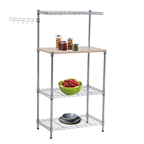 Tenive Baker s Rack Shelf Utility Stand Kitchen Cart w Wooden Plank and hook